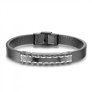 Bracelet homme bande de cuir et assemblage de pièces d'acier