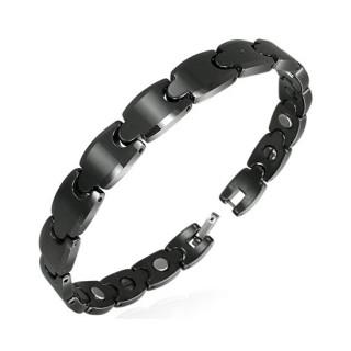 Bracelet homme en céramique noire à maillons style puzzle biseautés