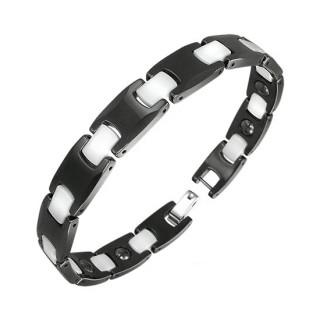 Bracelet homme en céramique à maillons noirs avec jointures blanches