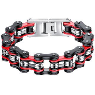 Bracelet homme chaine mécanique large en acier rouge, noir et gris