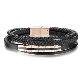 Bracelet homme cuir à assemblage dentelé en acier