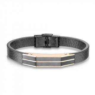 Bracelet homme cuir à élégant assemblage de plaques d'acier