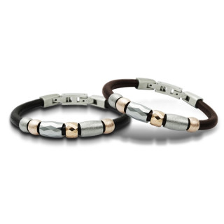 Bracelet homme cuir et perles Tungstène