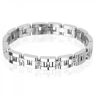 Bracelet homme en acier à barettes alternées et 5 pierres carrées