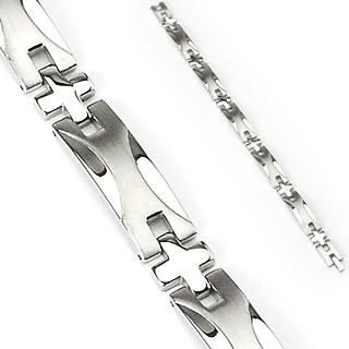 Bracelet homme en acier à X brossés sur plaques polies