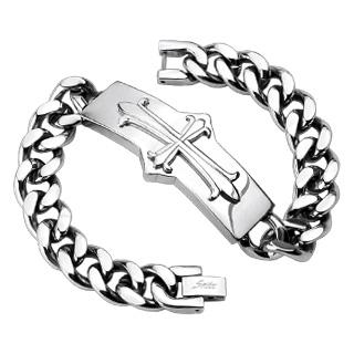 Bracelet homme en acier avec croix tréflée sur large plaque
