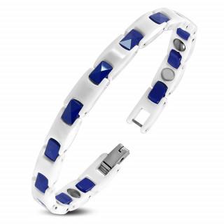 Bracelet homme en céramique blanche et bleue