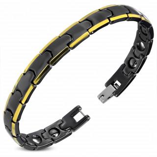 Bracelet homme en céramique noire à maillons style puzzle bordés de doré