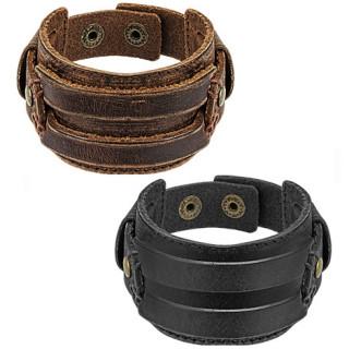 Bracelet homme en cuir aspect usé avec lanières sur l'avant