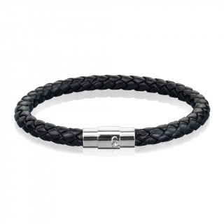 Bracelet homme en cuir tressé noir à attache inox