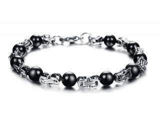 Bracelet homme long (24cm) en acier à perles noires