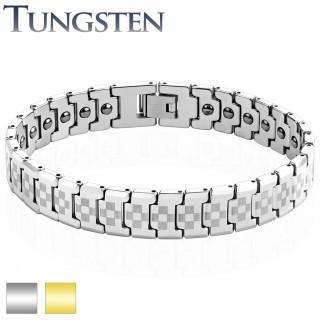 Bracelet homme magnétique en tungstène à damier