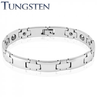 Bracelet homme magnétique en tungstène à jonctions en croix