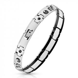 Bracelet homme magnétique en tungstène argenté à bords noirs
