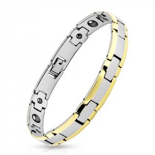 """Bracelet homme magnétique en tungstène argenté et doré à maillons en """"H"""" et croix"""