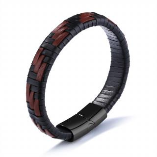 Bracelet homme marron et noir en cuir tissé
