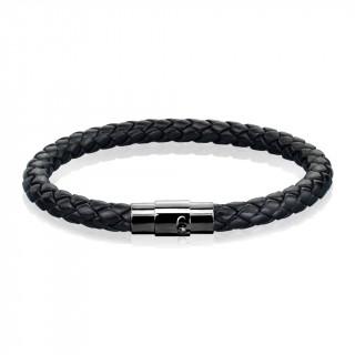 Bracelet homme noir en cuir tressé à attache crantée