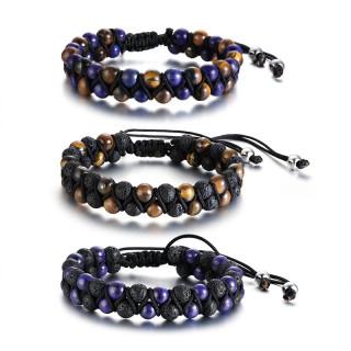 Bracelet homme à perles de pierre tressées