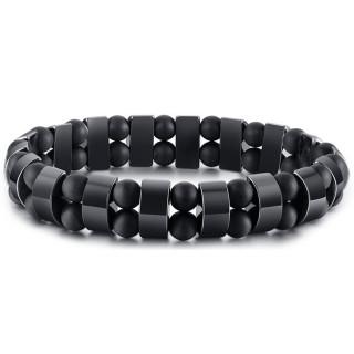 Bracelet homme à perles noires et segments hématite