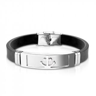 Bracelet homme silicone avec plaque acier à ancre marine