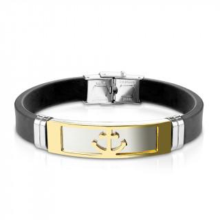 Bracelet homme silicone avec plaque acier à ancre marine dorée