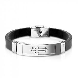 Bracelet homme silicone avec plaque acier à croix