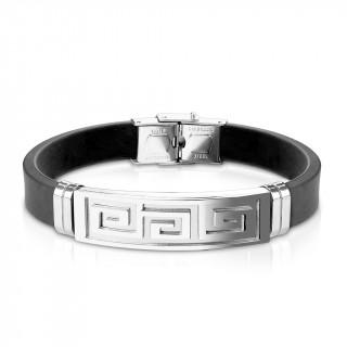 Bracelet homme silicone avec plaque acier à labyrinthe