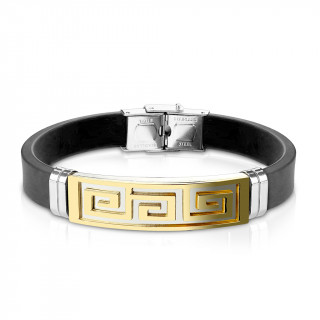 Bracelet homme silicone avec plaque acier à labyrinthe doré