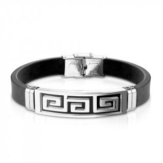Bracelet homme silicone avec plaque acier à labyrinthe noir et gris