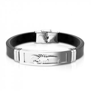 Bracelet homme silicone avec plaque acier à scorpion