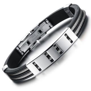 Bracelet homme silicone à filins et plaque perforée en acier