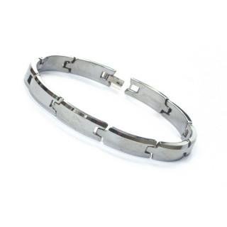 Bracelet homme en tungstène formé de plaques étroites biseautées
