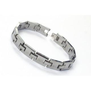 """Bracelet homme en tungstène avec maillons en """"H"""""""