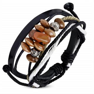 Bracelet noir et blanc en cuir et cordes avec perles bois, métal et pierre