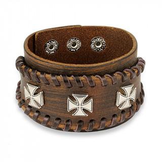 Bracelet similicuir marron aspect usé traversé de lacets avec trio de croix de Malte