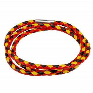 Bracelet tressé tricolore noir, rouge et jaune à 3 tours