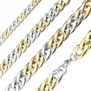 Chaine acier à maillons ovales croisés dorés et inox