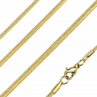 Chaine homme acier à mailles serpent ovales et dorées