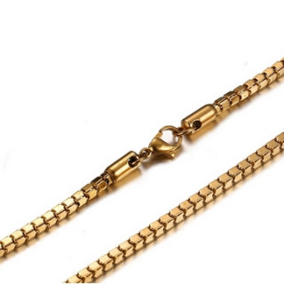 Chaine longue dorée (55cm) en acier à maille cube