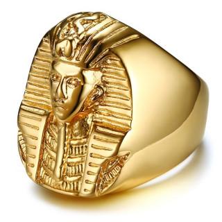Chevalière homme dorée en acier à Pharaon
