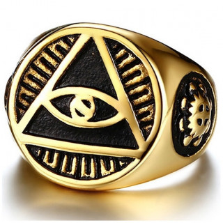 Chevalière homme à pyramide illuminati en acier doré
