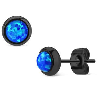 Clous d'oreille en acier noir à opale bleue