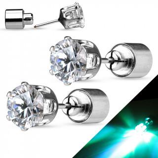 Clous d'oreilles en acier à strass rond clignotant LED