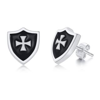Clous d'oreille acier bouclier noir et gris à croix de malte