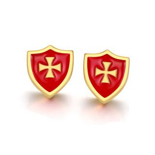 Clous d'oreille acier bouclier rouge et doré à croix de malte