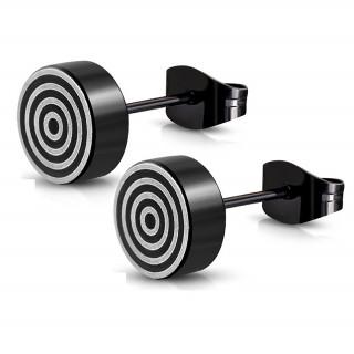 Clous d'oreille acier noir à cercles concentriques (Paire)