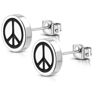 Clous d'oreille acier à symbole Peace and love (Paire)
