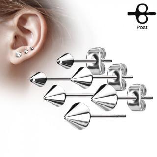 Clous d'oreille en acier inox à spike (la paire)