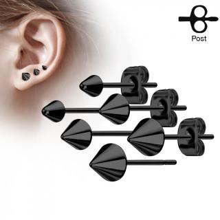 Clous d'oreille en acier noir à spike (la paire)