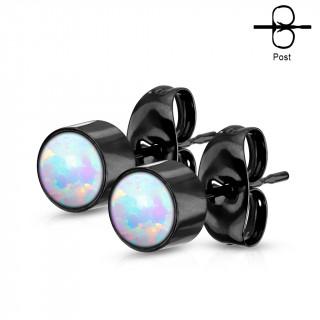 Clous d'oreilles cylindriques noires à Opales blanches (paire)